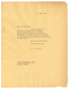 Thumbnail of Letter from W. E. B. Du Bois to Morehouse College