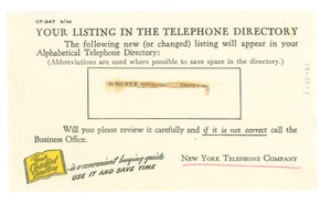 Thumbnail of Telephone directory listing
