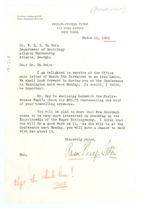 Thumbnail of Letter from Anson Phelps Stokes to W. E. B. Du Bois