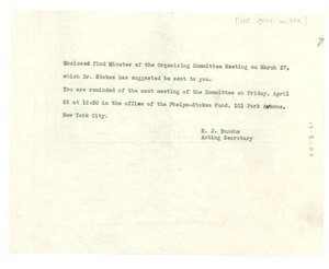 Thumbnail of Letter from Ralph Bunche to Organizing Committee for an International Conference on Africa