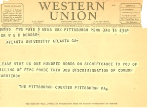 Thumbnail of Telegram from Pittsburgh Courier to W. E. B. Du Bois