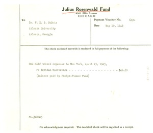 Thumbnail of Julius Rosenwald Fund check stub