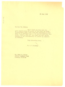 Thumbnail of Letter from W. E. B. Du Bois to the Julius Rosenwald Fund