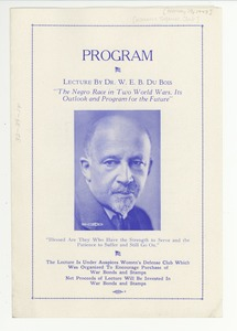 Thumbnail of W. E. B. Du Bois lecture program