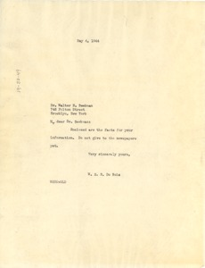 Thumbnail of Letter from W. E. B. Du Bois to Walter N. Beekman