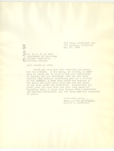 Thumbnail of Letter from Marcus B. Christian to W. E. B. Du Bois