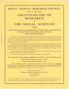 Thumbnail of Social Science Research Council 1943-1944 research grants