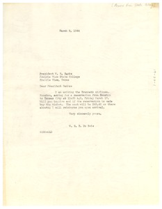Thumbnail of Letter from W. E. B. Du Bois to Prairie View State College