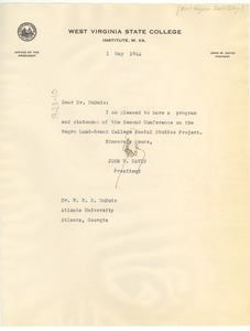 Thumbnail of Letter from West Virginia State College to W. E. B. Du Bois