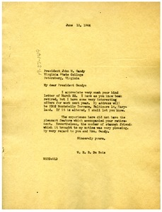 Thumbnail of Letter from W. E. B. Du Bois to John M. Gandy