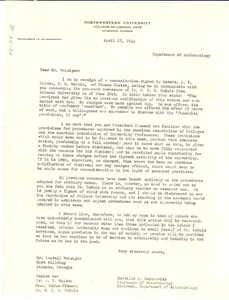 Thumbnail of Letter from Melville J. Herskovits to Kendall Weisiger