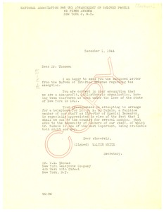 Thumbnail of Letter from Walter White to New York Telephone Company