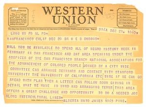 Thumbnail of Telegram from NAACP San Francisco branch to W. E. B. Du Bois