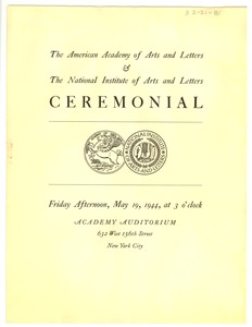 Thumbnail of American Academy of Arts and Letters Ceremonial and Exhibition program