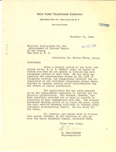 Thumbnail of Letter from New York Telephone Company to NAACP