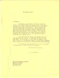 Thumbnail of Letter from W. E. B. Du Bois to New York Telephone Company