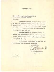 Thumbnail of Letter from Melville J. Herskovits to Members of the Organizing Committee for an         International Conference on Africa