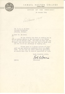 Thumbnail of Letter from Samuel Huston College to W. E. B. Du Bois