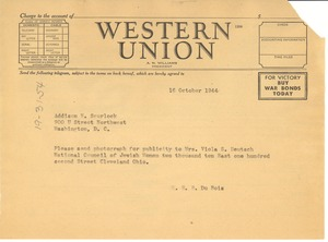 Thumbnail of Telegram from W. E. B. Du Bois to Scurlock Studio