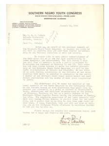 Thumbnail of Letter from Southern Negro Youth Congress to W. E. B. Du Bois