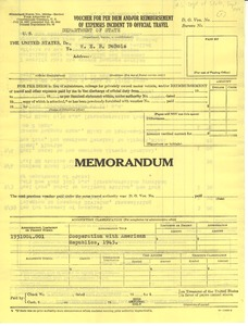 Thumbnail of United States Department of State Voucher for per diem and/or reimbursement         of expenses incident to official travel