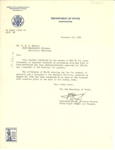 Thumbnail of Letter from United States Department of State to W. E. B. Du Bois