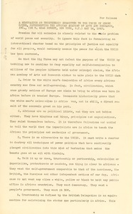 Thumbnail of Memorandum from African Academy of Arts and Research to United Nations             Conference on International Organization