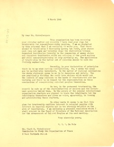 Thumbnail of Letter from W. E. B. Du Bois to American Association for the United Nations