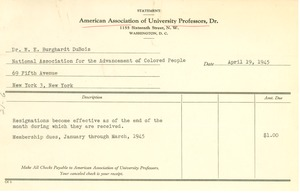 Thumbnail of American Association of University Professors invoice for membership dues
