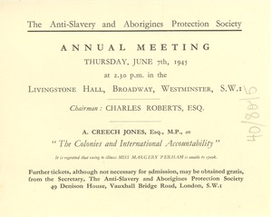 Thumbnail of Anti-Slavery and Aborigines Protection Society annual meeting invitation