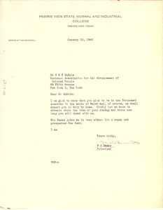 Thumbnail of Letter from W. R. Banks to W. E. B. Du Bois