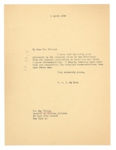 Thumbnail of Letter from W. E. B. Du Bois to Council on African Affairs