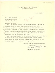 Thumbnail of Letter from George B. de Huszar to W. E. B. Du Bois