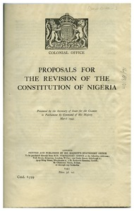 Thumbnail of Proposals for the Revision of the Constitution of Nigeria