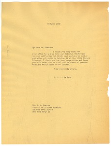Thumbnail of Letter from W. E. B. Du Bois to W. A. Hunton