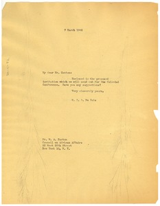Thumbnail of Letter from W. E. B. Du Bois to W. A. Hunton and L. D. Reddick