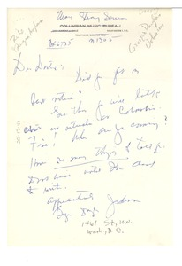 Thumbnail of Letter from Georgia Douglas Johnson to W. E. B. Du Bois