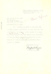 Thumbnail of Letter from Rayford W. Logan to W. E. B. Du Bois