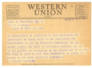 Thumbnail of Telegram from March on Washington Movement to W. E. B. Du Bois