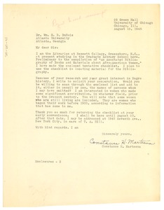 Thumbnail of Letter from Constance H. Marteena to W. E. B. Du Bois