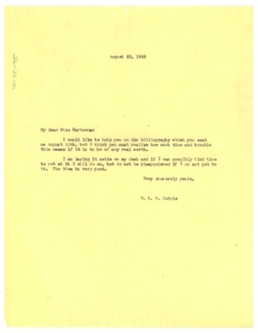 Thumbnail of Letter from W. E. B. Du Bois to Constance H. Marteen