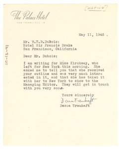 Thumbnail of Letter from Nation to W. E. B. Du Bois