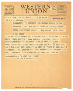 Thumbnail of Telegram from National Association of Deans and Advisers of Men in Negro             Educational Institutions to W. E. B. Du Bois