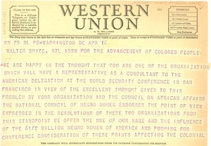 Thumbnail of Telegram from National Council of Negro Women to NAACP