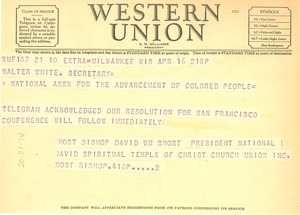 Thumbnail of Telegram from National David Spiritual Temple of Christ Church Union to NAACP