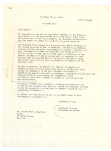 Thumbnail of Letter from National Urban League to NAACP
