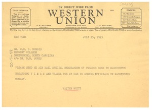 Thumbnail of Telegram from Walter White to W. E. B. Du Bois