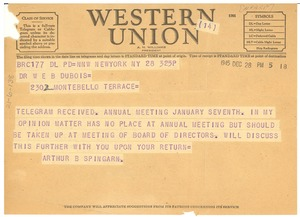 Thumbnail of Telegram from Arthur B. Spingarn to W. E. B. Du Bois