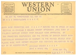 Thumbnail of Telegram from NAACP Chicago Branch to W. E. B. Du Bois