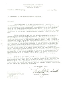 Thumbnail of Letter from Melville J. Herskovits to Members of the Africa Conference Committee
